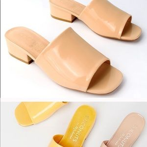 Chic Low Patent Nude Heel Mules